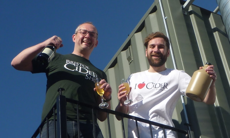 Bristol Cider Shop owner Pete Snowman and manager Sebastian Langkamer celebrate the opening of the new Wappinh Wharf shop.
